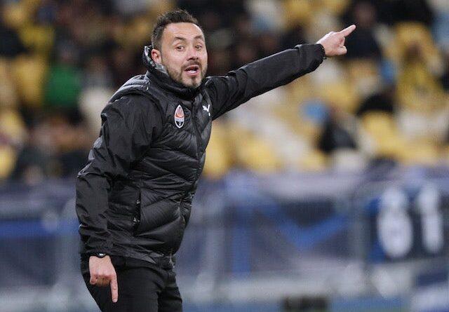 El entrenador del Shakhtar Donetsk, Roberto De Zerbi, reacciona el 28 de septiembre de 2021